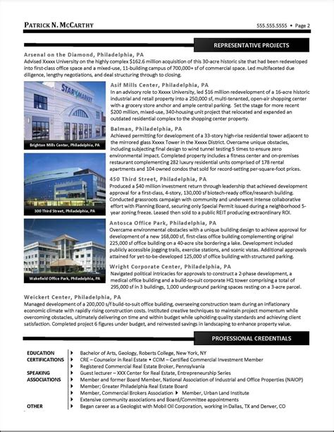Resume Real Estate Development Manager exle executive real estate developer resume pg 2