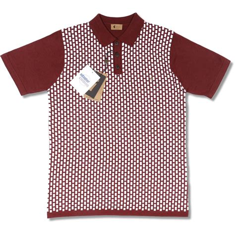 pattern polo shirt gabicci vintage mod retro 60 s s s knit brick pattern 3