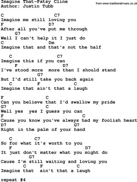 printable lyrics imagine country music imagine that patsy cline lyrics and chords