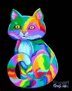 colorful cats colorful kitten painting by nick gustafson