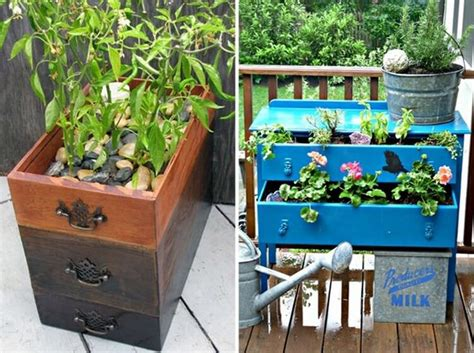 creative ways to turn drawers into planters recycled