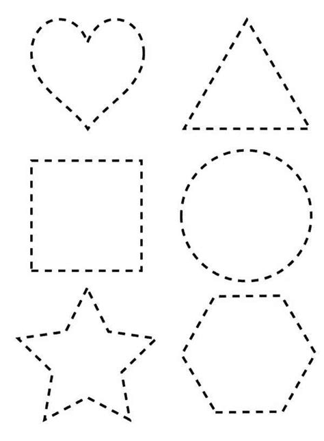 dotted line shapes coloring page netart teach