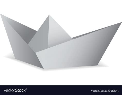 Folded Paper Boat - white paper boat folded origami concept vector
