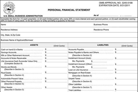 personal financial statement forms financial statement form free premium