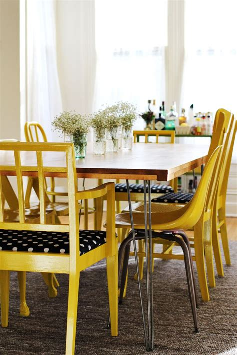 yellow dining room table white diy hairpin legged dining table featuring a beautiful mess diy projects