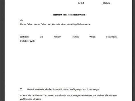 Testament Notariell Beglaubigen by Testament Vorlage Freeware De