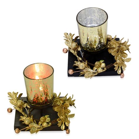 Home Decor Candle Holders And Accessories | golden glass set of 2 candle holders with led light hd