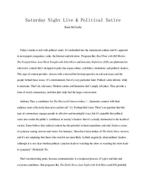 Satirical Essays by Essay Snl Political Satire
