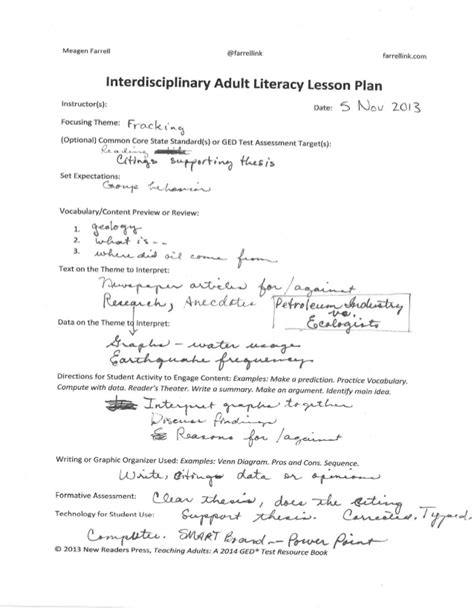 lesson plan template for adults tulsa literacy lesson plans