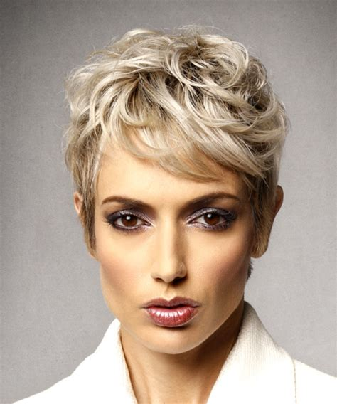 short shag pixie hairstyles for square jawed women short wavy formal shag hairstyle with side swept bangs