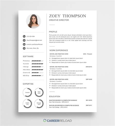 resume templates free download for microsoft word download free