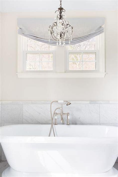 Half Moon Tub with Curved Marble Tub Deck   Cottage   Bathroom
