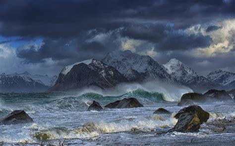 wallpaper landscape mountains sea bay rock nature