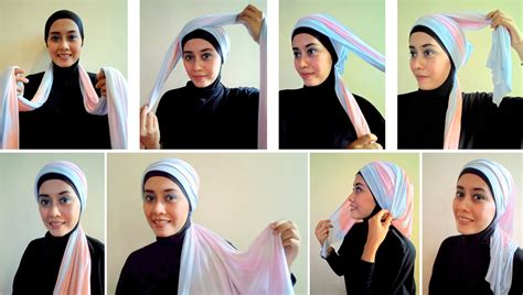 tutorial hijab pashmina kaos syar i tutorial hijab pashmina kaos terbaru