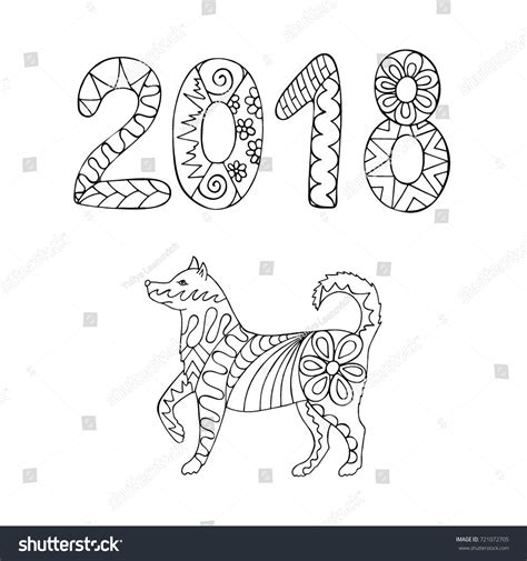 new year animal outlines 2018 zentangle style symbol 2018 stock vector