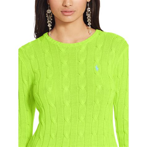 green cable knit sweater polo ralph cable knit crewneck sweater in green lyst