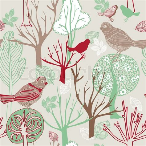 pattern fabric retro abstract birds background fashion seamless pattern retro