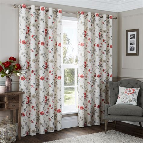 Vintage Eyelet Curtains Vintage Floral Patterned Curtains Eyelet Style Heading Ebay