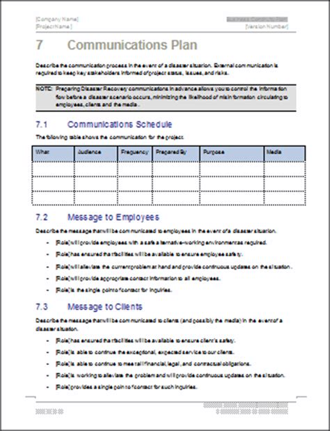 disaster recovery communication plan template business continuity plan template