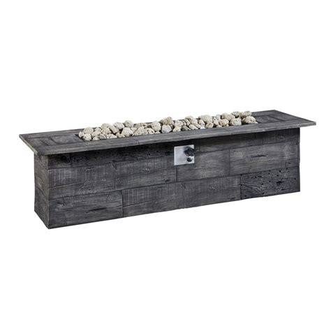Lowes Outdoor Firepit Shop Garden Treasures 72 In W 70 000 Btu Gray Composite Liquid Propane Gas Table At Lowes