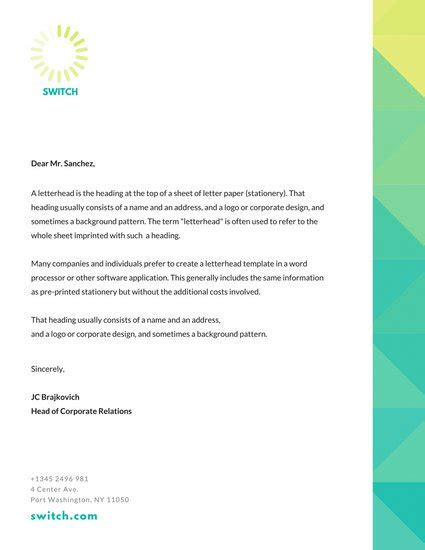 letterhead text template teal yellow gradient border professional letterhead templates by canva