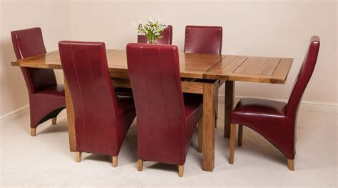 Farmhouse Dining Table And 6 Chairs Farmhouse Rustic Solid Oak 160cm Extending Dining Table 6 Lola Leather Chairs