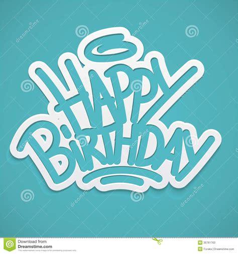 Happy Birthday Label Lettering Stock Photos   Image: 35761763