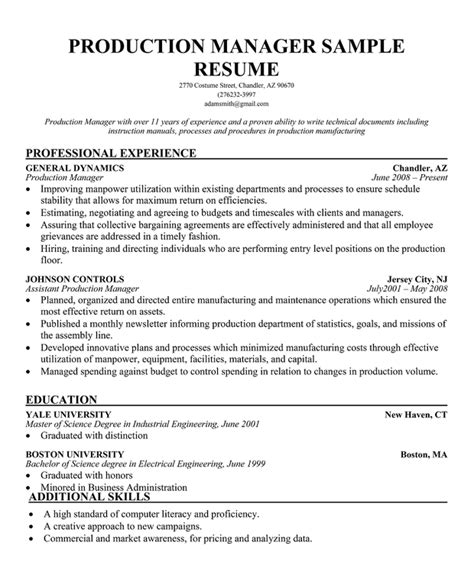 sle resume for production manager production supervisor resume format production