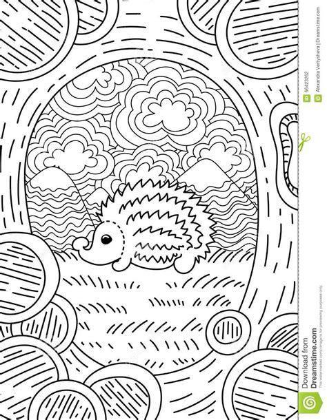 hedgehog coloring book for adults animal adults coloring book books pattern for coloring book ethnic retro design stock