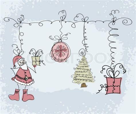 santa on doodle doodle sketch objects santa gift