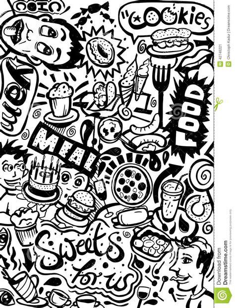 doodle cafe restaurant doodle stock illustration image of donut