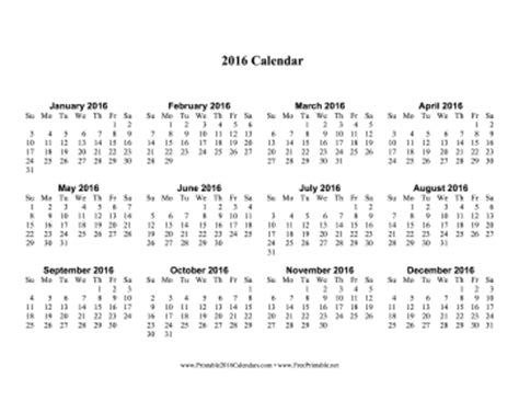 Large Printable Yearly Calendar 2016 | printable 2016 calendar one page with large print
