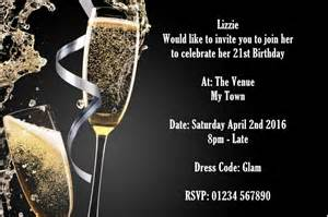 Party invitations single joint 21st 30th 40th 50th 60th champagne