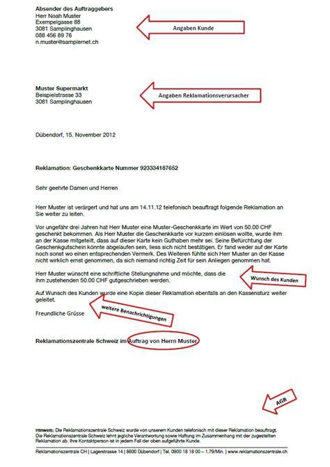 Schweiz Brief Beispiel Beispiele Reklamationszentrale Schweiz