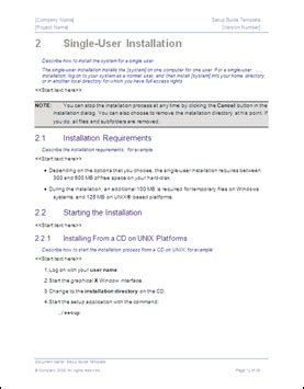 setup guide template technical writing tips