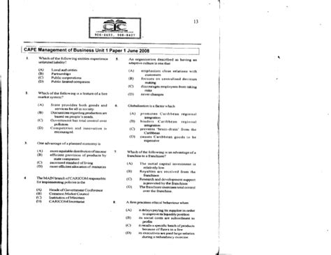 Paper Business - unit 1 cape management of business paper 1 2008 past