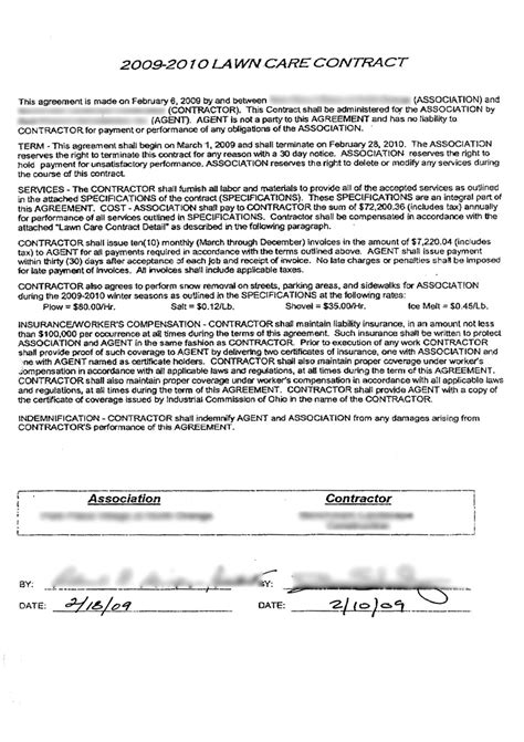 lawn care contract template best photos of exle of a contract form mortgage