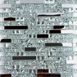 Aluminum Backsplash Sheets - shell textured glass amp stainless steel mixed mosaic tiles modern mosaic tile other metro
