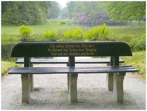 spruch bank spruch auf einer parkbank im quot schlo 223 park l 252 tetsburg