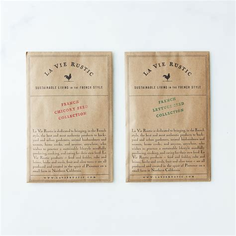 french lettuce  chicory seed packets set    food