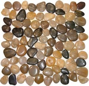 polished mixed pebble tile