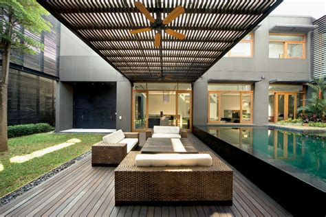 home courtyard residential design inspiration modern pool canopy