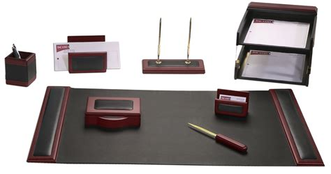 D8020 Rosewood Leather 10 Piece Desk Set Work Desk Accessories