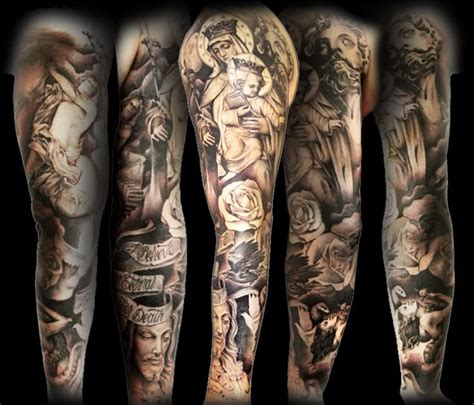 jesus sleeve tattoo 35 christian tattoos on sleeve