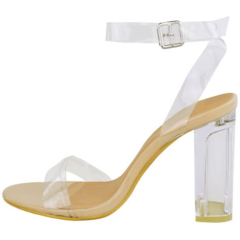 womens high clear heels ankle strappy open toe