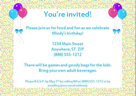 sle invitation letter for birthday 100 images sle