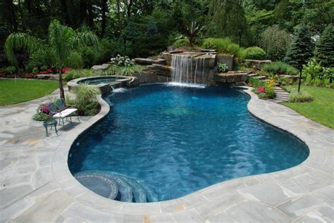 Backyard Swimming Pool by Tropical Backyard Waterfalls Allendale Nj Cipriano