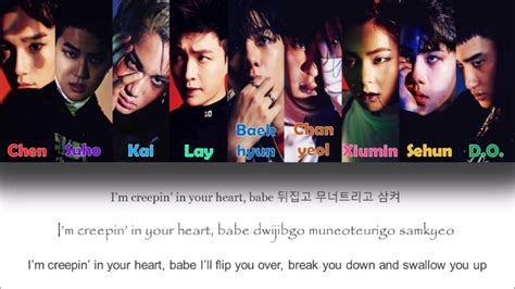 exo she s dreaming lyrics color coded han rom exo monster color coded lyrics han rom eng youtube