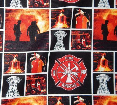 Fireman Quilt Fabric by Cotton Quilt Fabric Firefighter Fireman Dalmatian Rescue