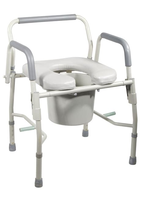 bed side commode steel drop arm bedside commode with padded seat by drive
